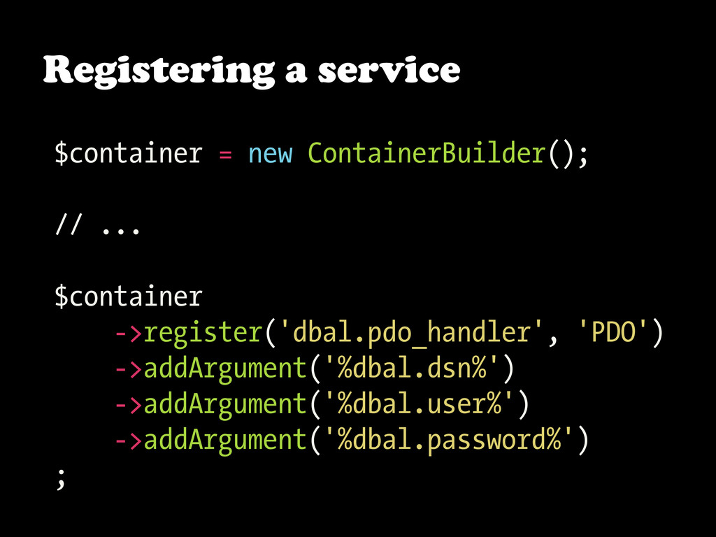 Registering a service $container = new Containe...