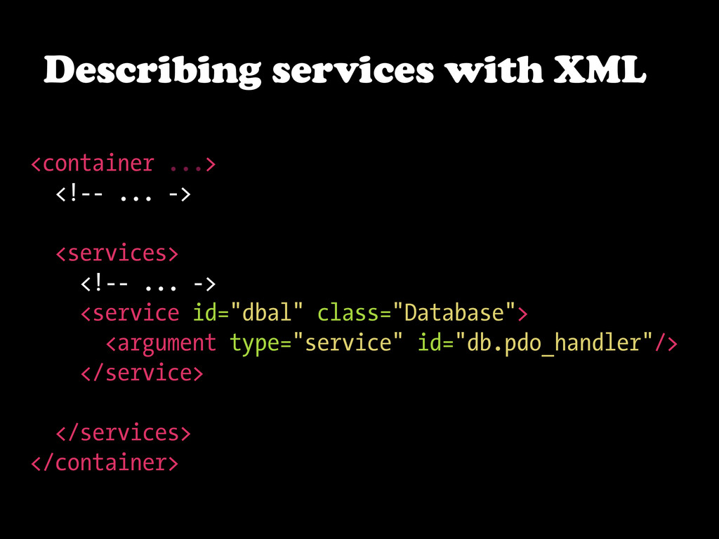 Describing services with XML <container ...> <!...
