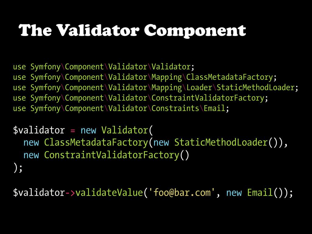 The Validator Component use Symfony\Component\V...