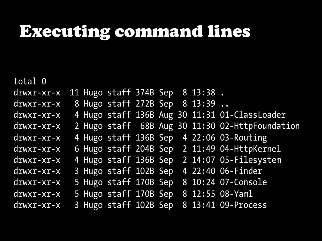 Executing command lines total 0 drwxr-xr-x 11 H...