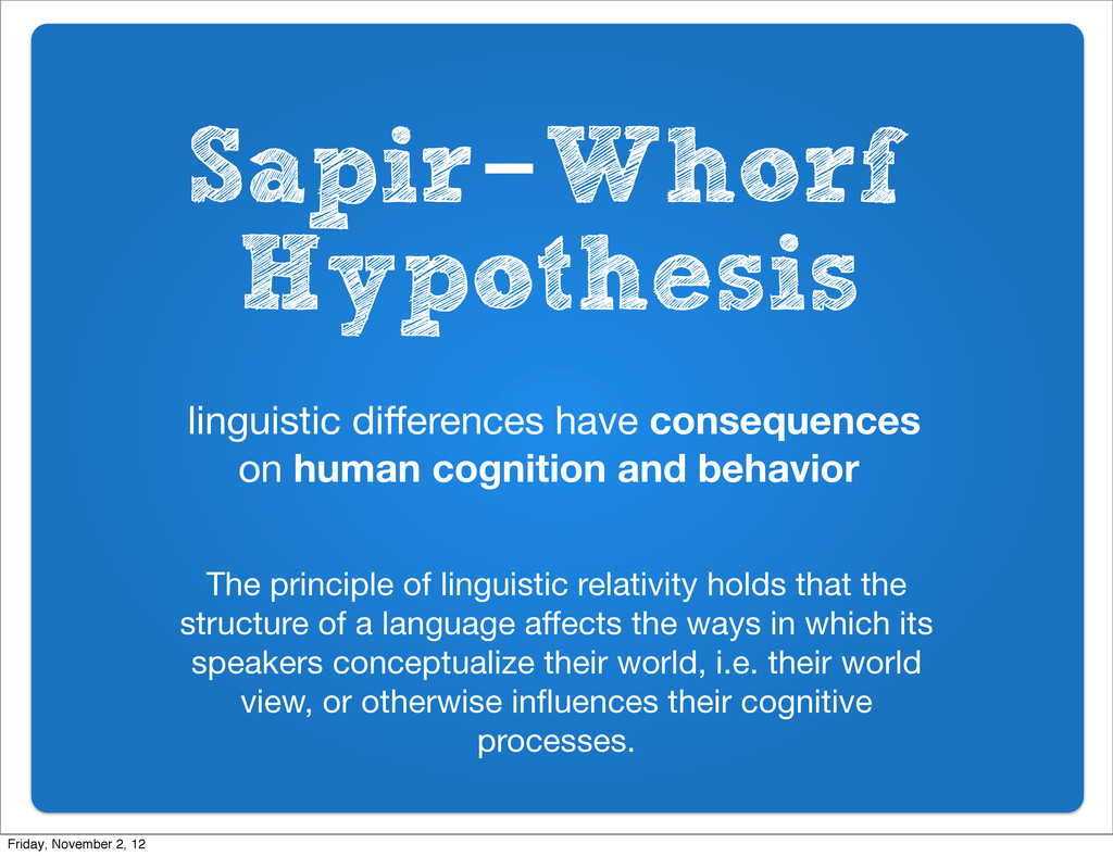 Sapir-Whorf Hypothesis linguistic differences ha...