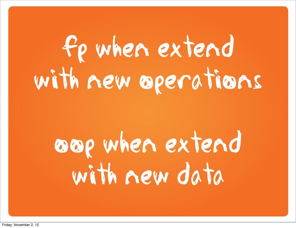 fp when extend with new operations oop when ext...