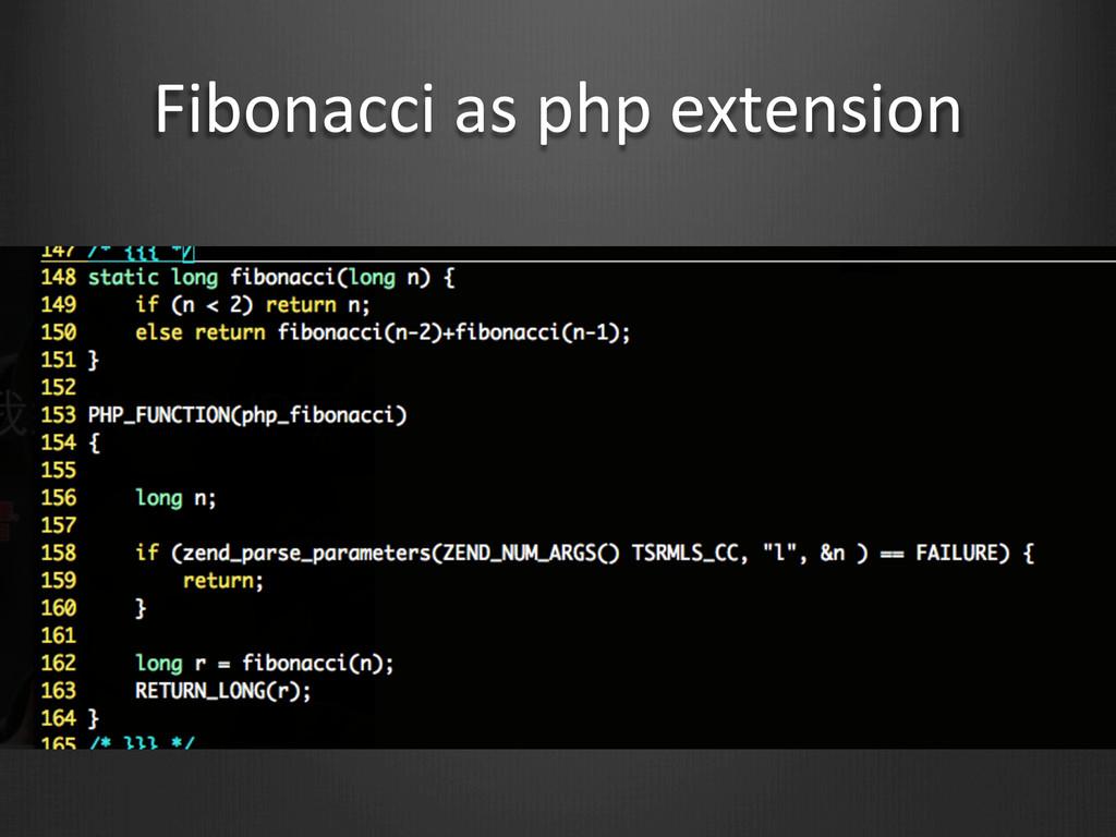 Fibonacci as php extension