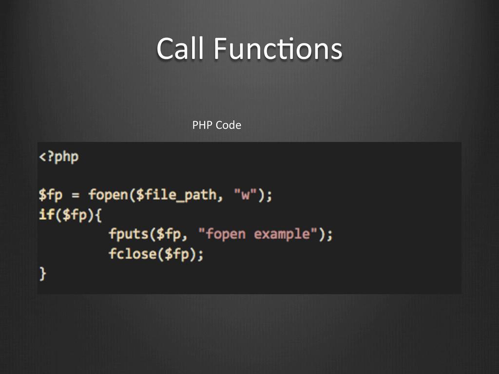Call FuncWons PHP Code
