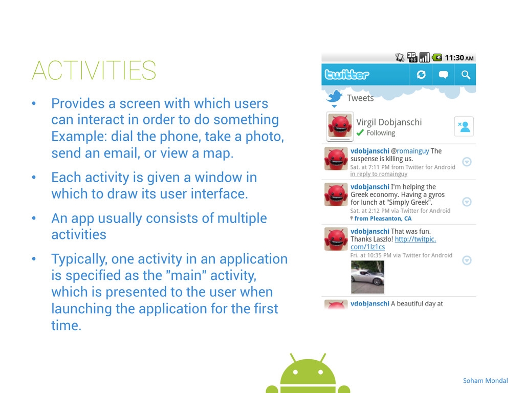 ACTIVITIES • Provides a screen with which user...