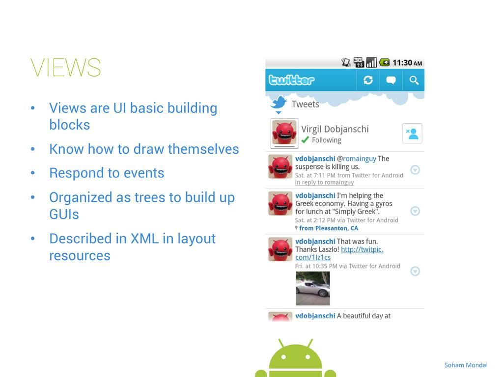 VIEWS • Views are UI basic building blocks • ...