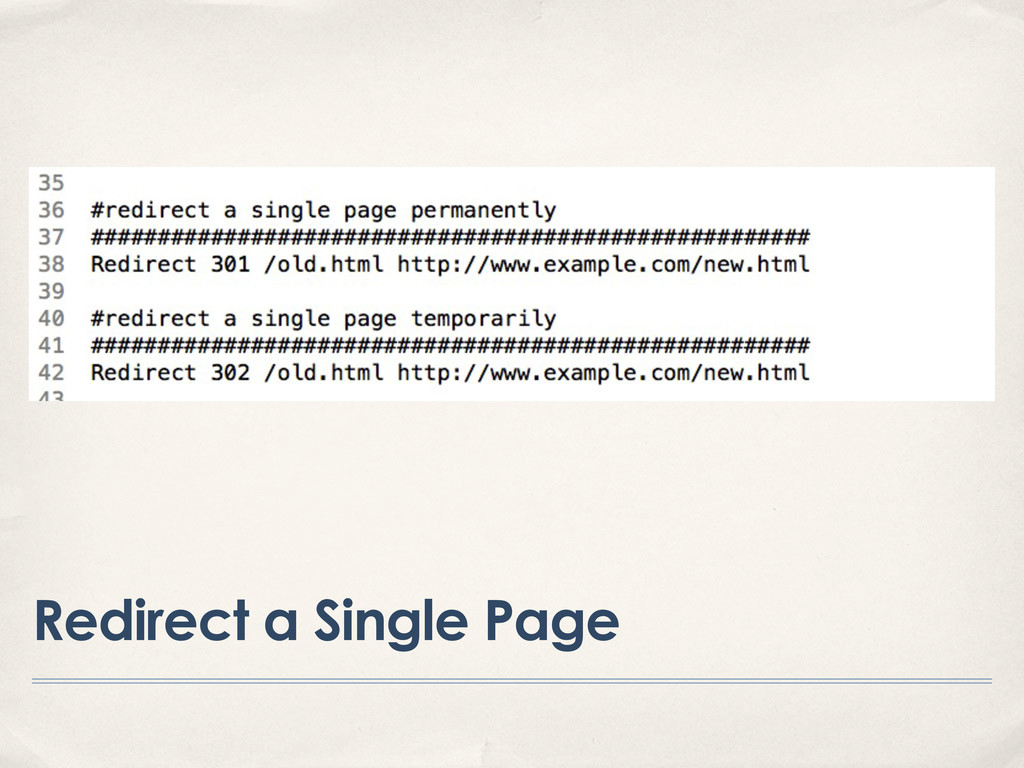 Redirect a Single Page
