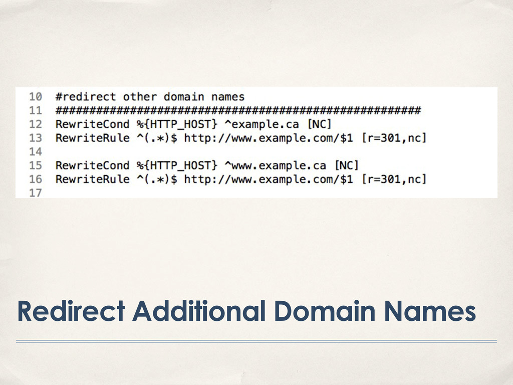 Redirect Additional Domain Names