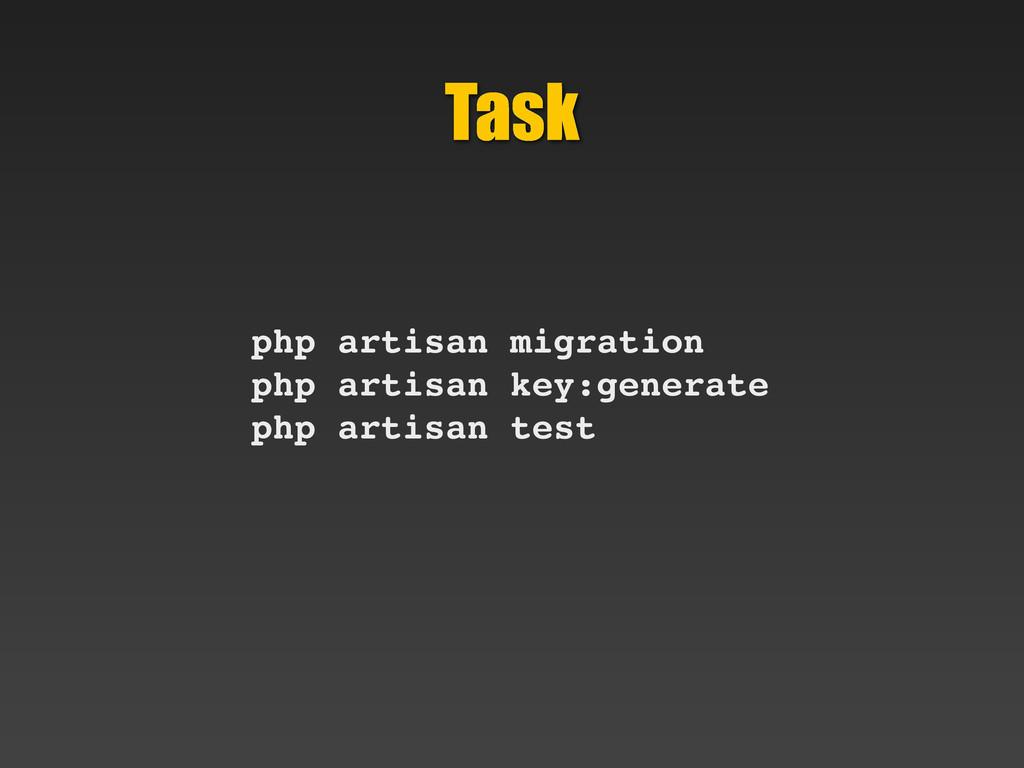 Task php artisan migration php artisan key:gene...