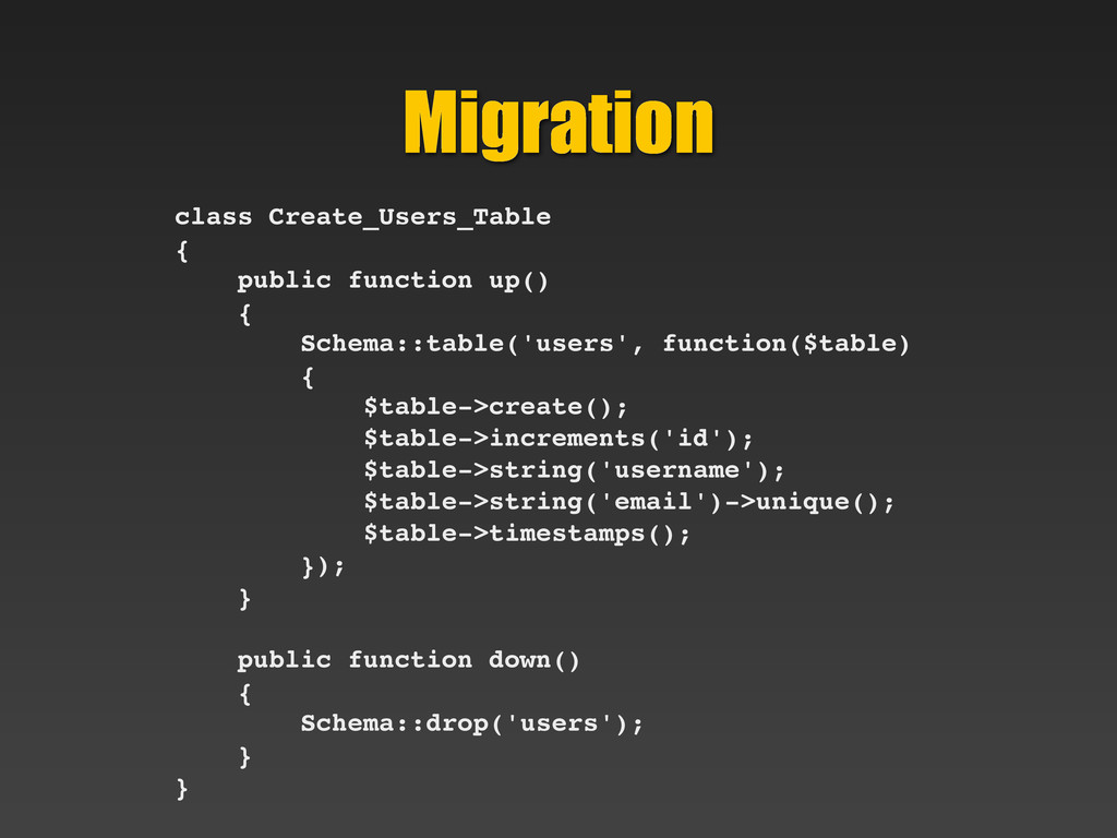 Migration class Create_Users_Table { public fun...