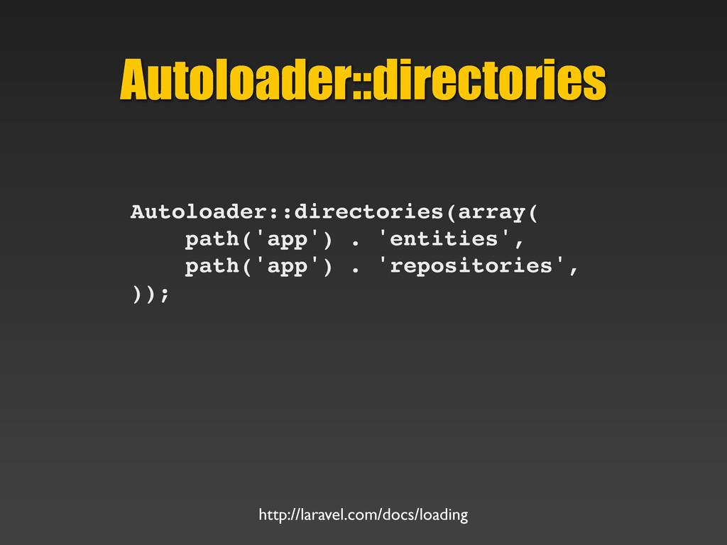 Autoloader::directories Autoloader::directories...