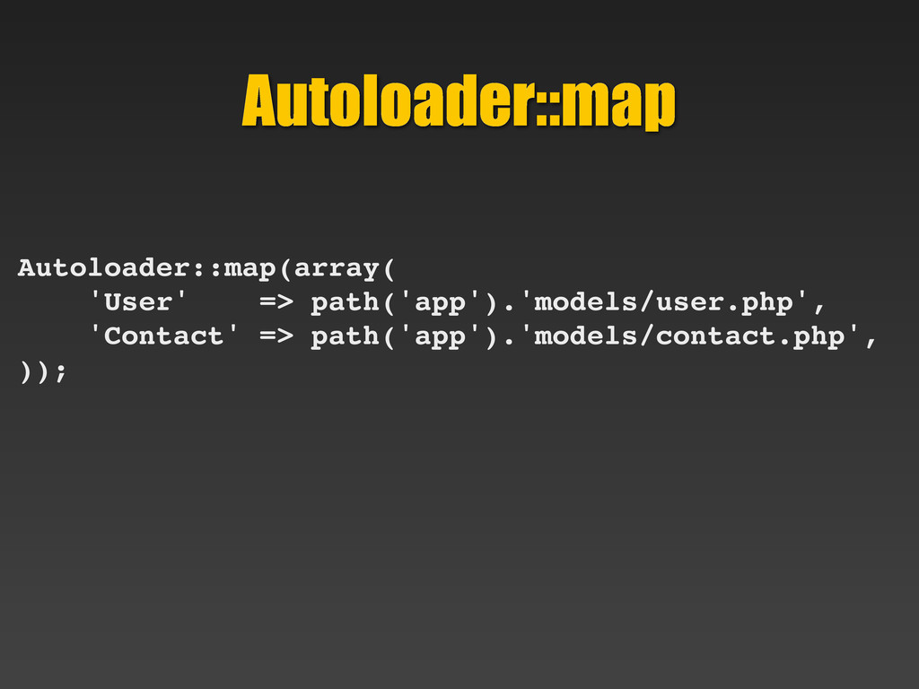 Autoloader::map Autoloader::map(array( 'User' =...
