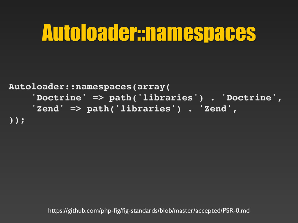Autoloader::namespaces Autoloader::namespaces(a...