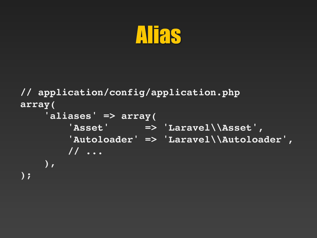 Alias // application/config/application.php arr...