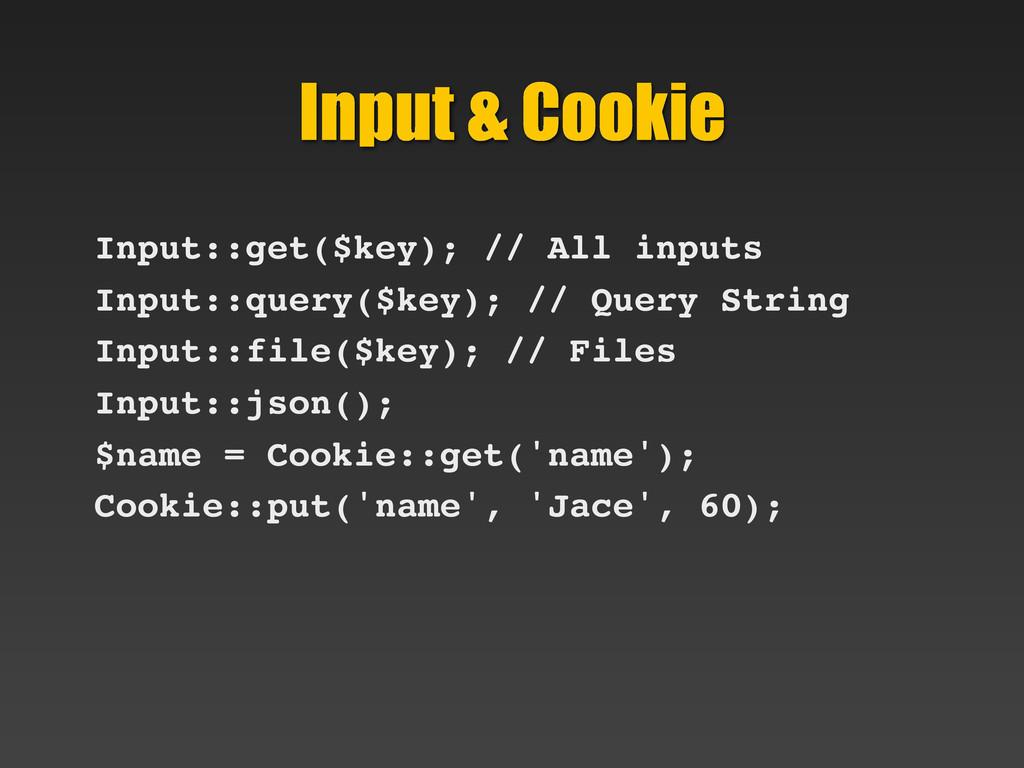 Input & Cookie Input::get($key); // All inputs ...