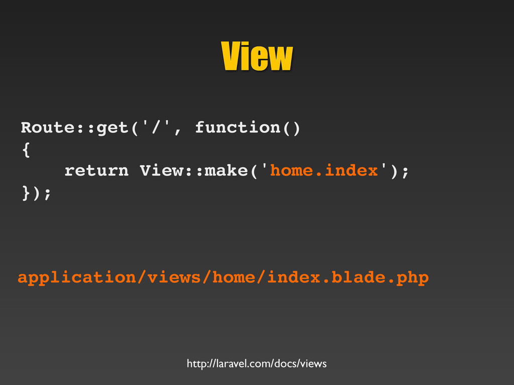 View Route::get('/', function() { return View::...
