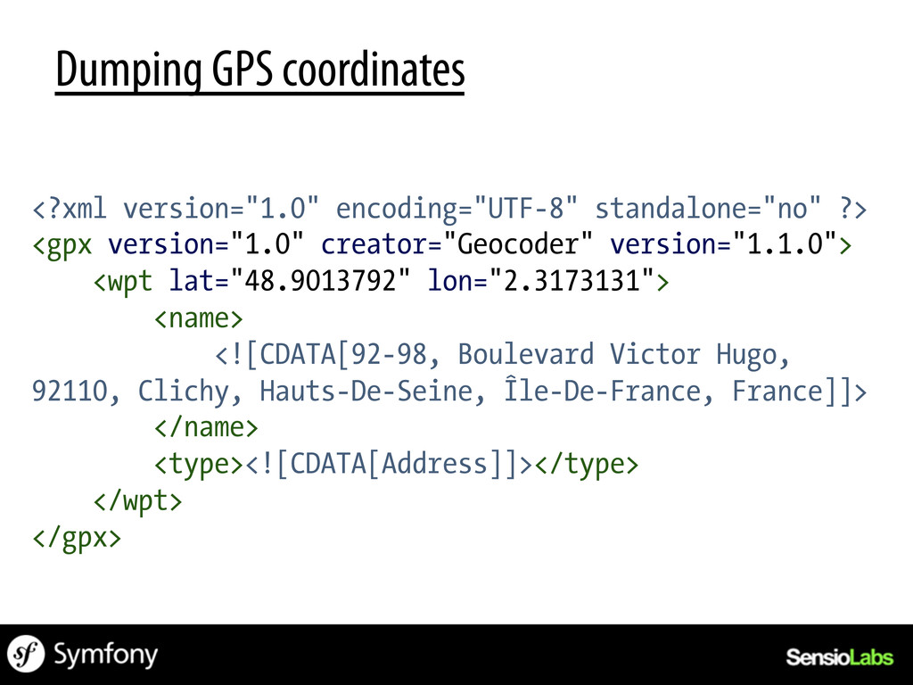 "Dumping GPS coordinates <?xml version=""1.0"" enc..."