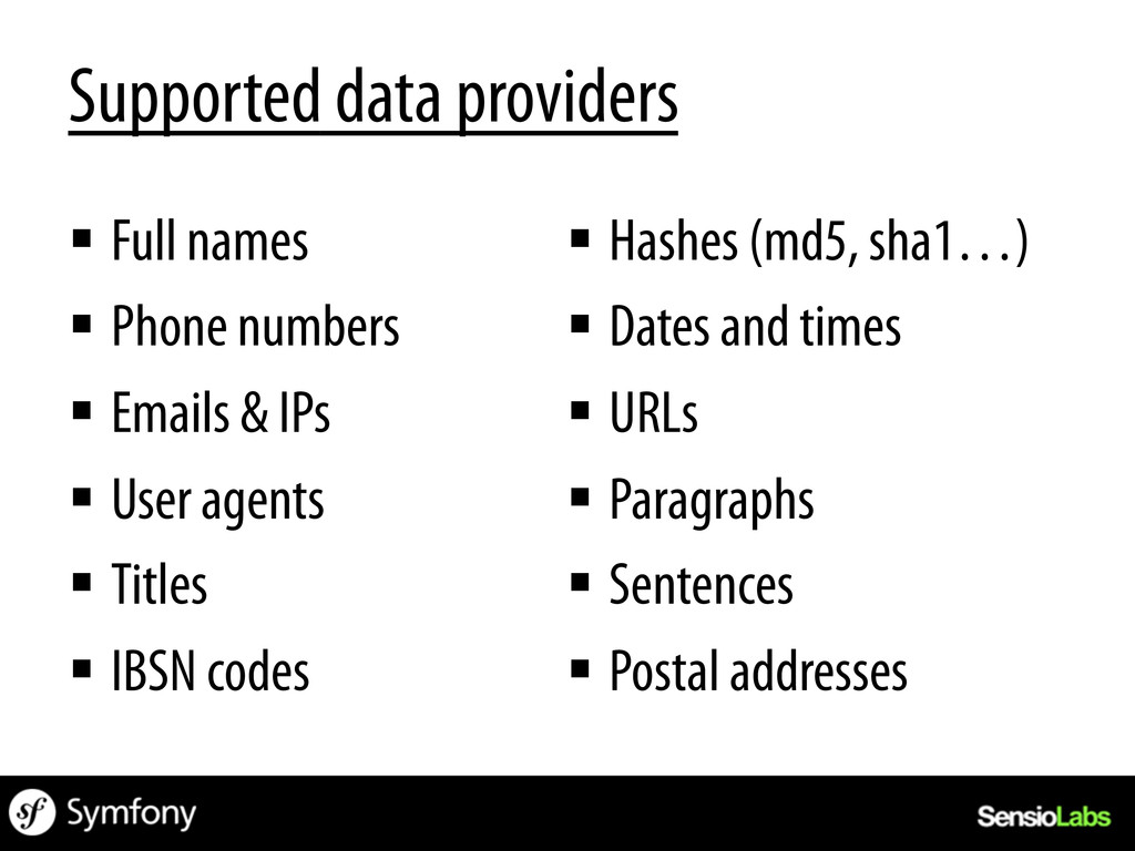 Supported data providers § Full names § Phone...