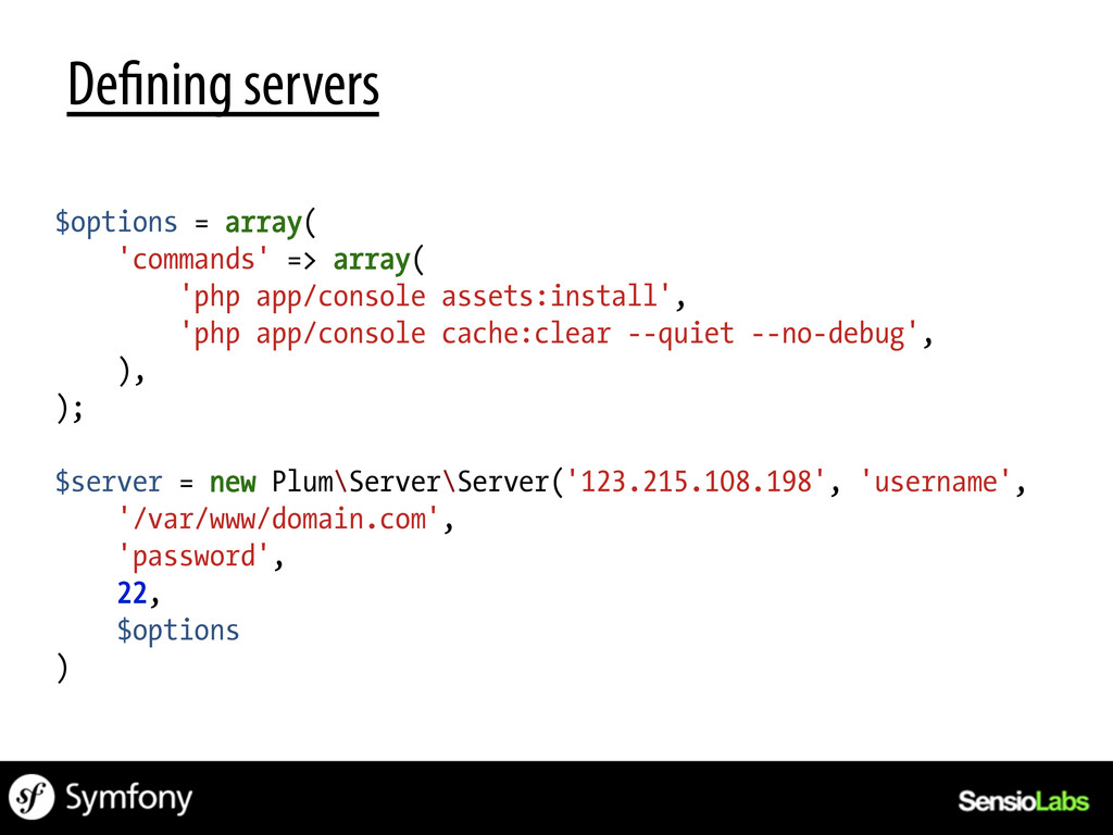 De ning servers $options = array( 'commands' =>...