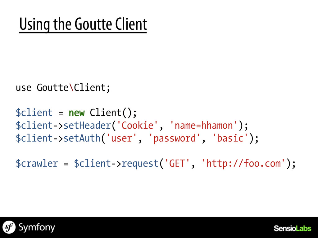Using the Goutte Client use Goutte\Client; $cli...