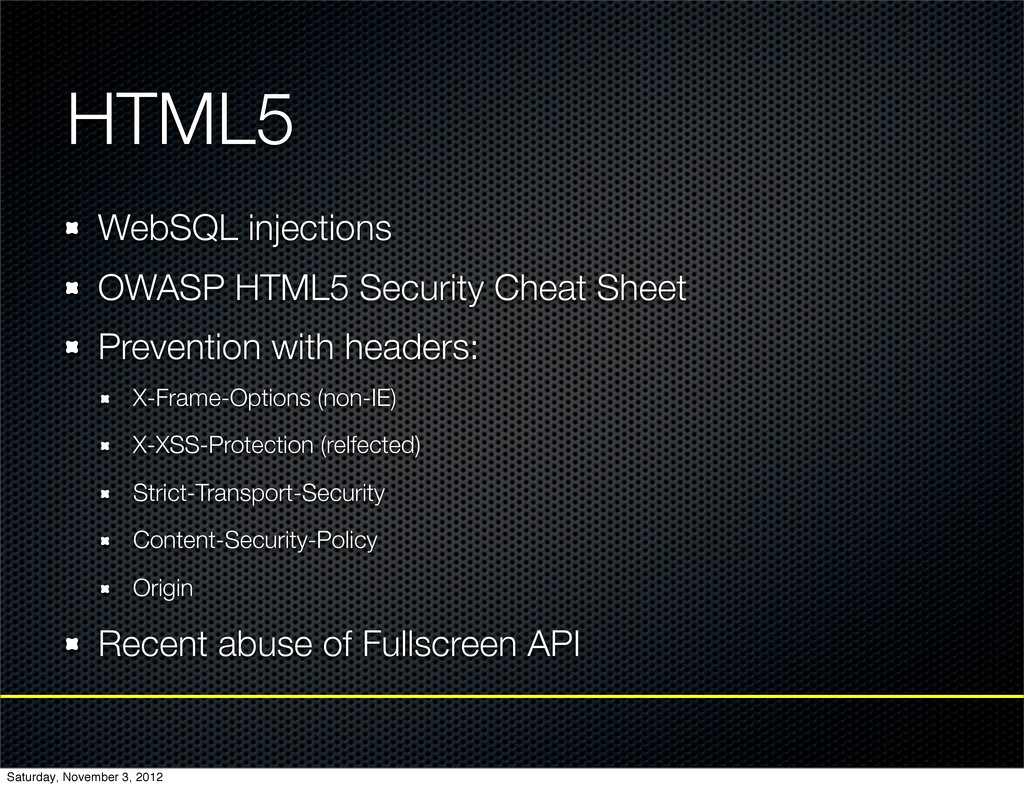 HTML5 WebSQL injections OWASP HTML5 Security Ch...