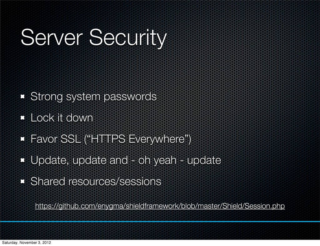 Server Security Strong system passwords Lock it...