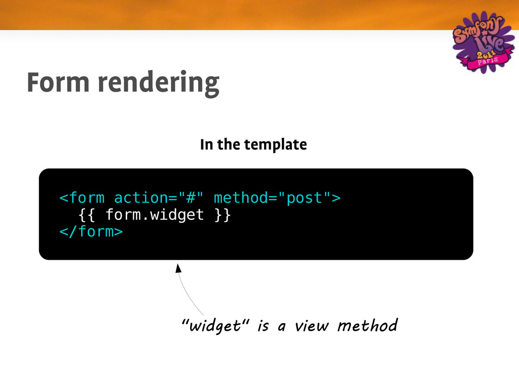 "Form rendering In the template <form action=""#""..."