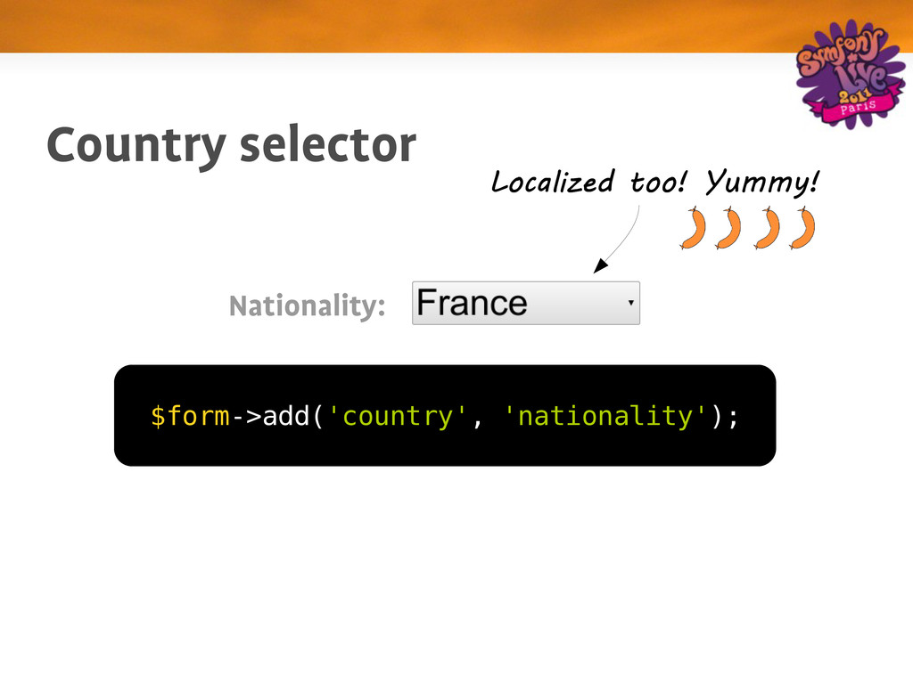 Country selector $form->add('country', 'nationa...