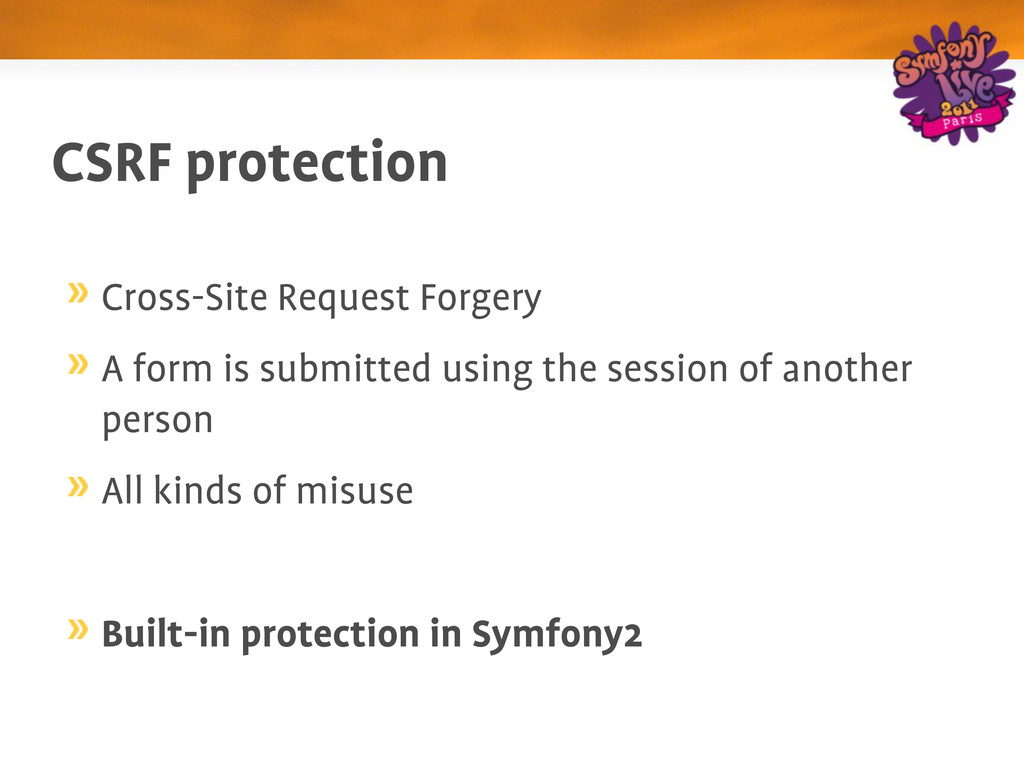 CSRF protection Cross­Site Request Forgery A fo...