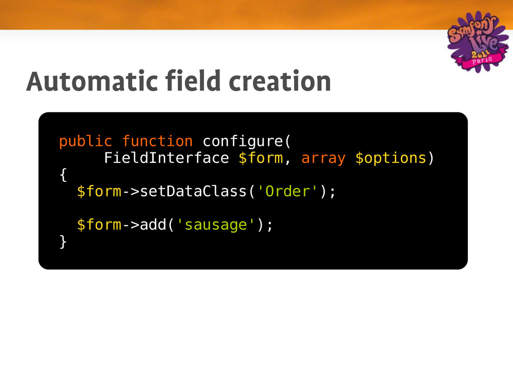 Automatic field creation public function config...