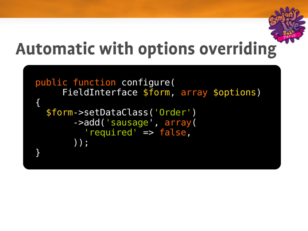 Automatic with options overriding public functi...
