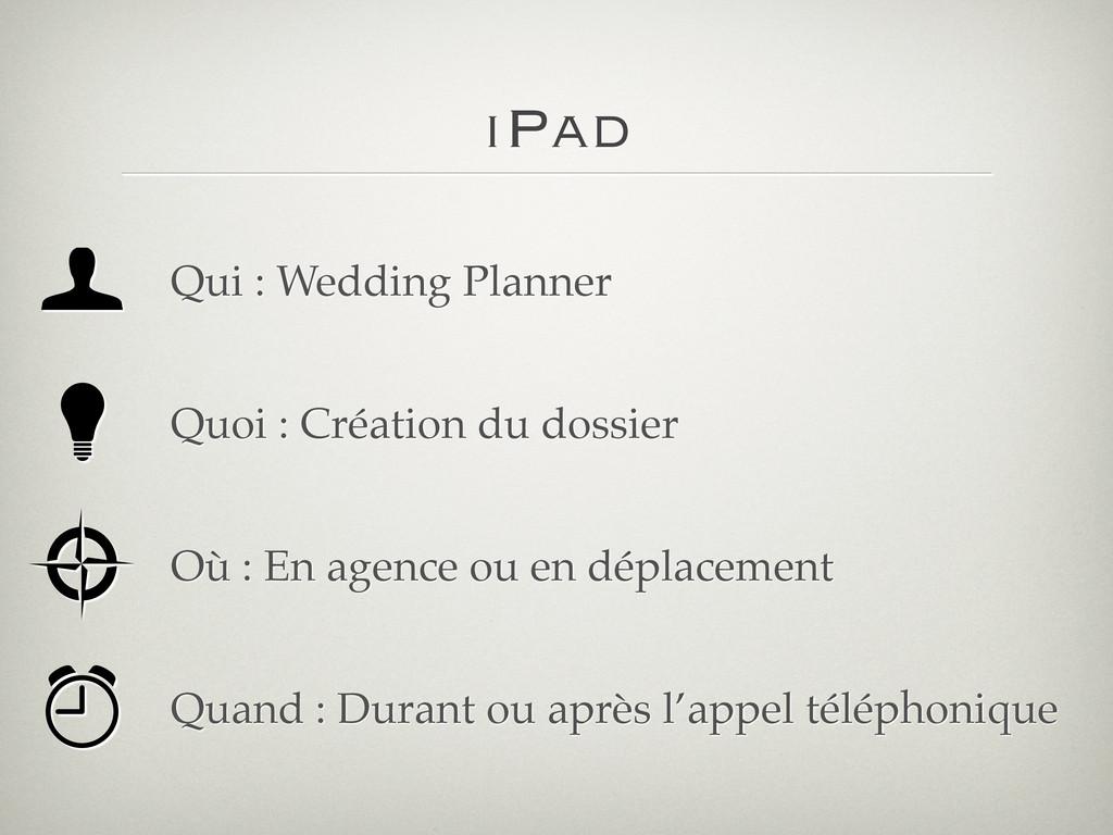 iPad Qui : Wedding Planner Quoi : Création du d...