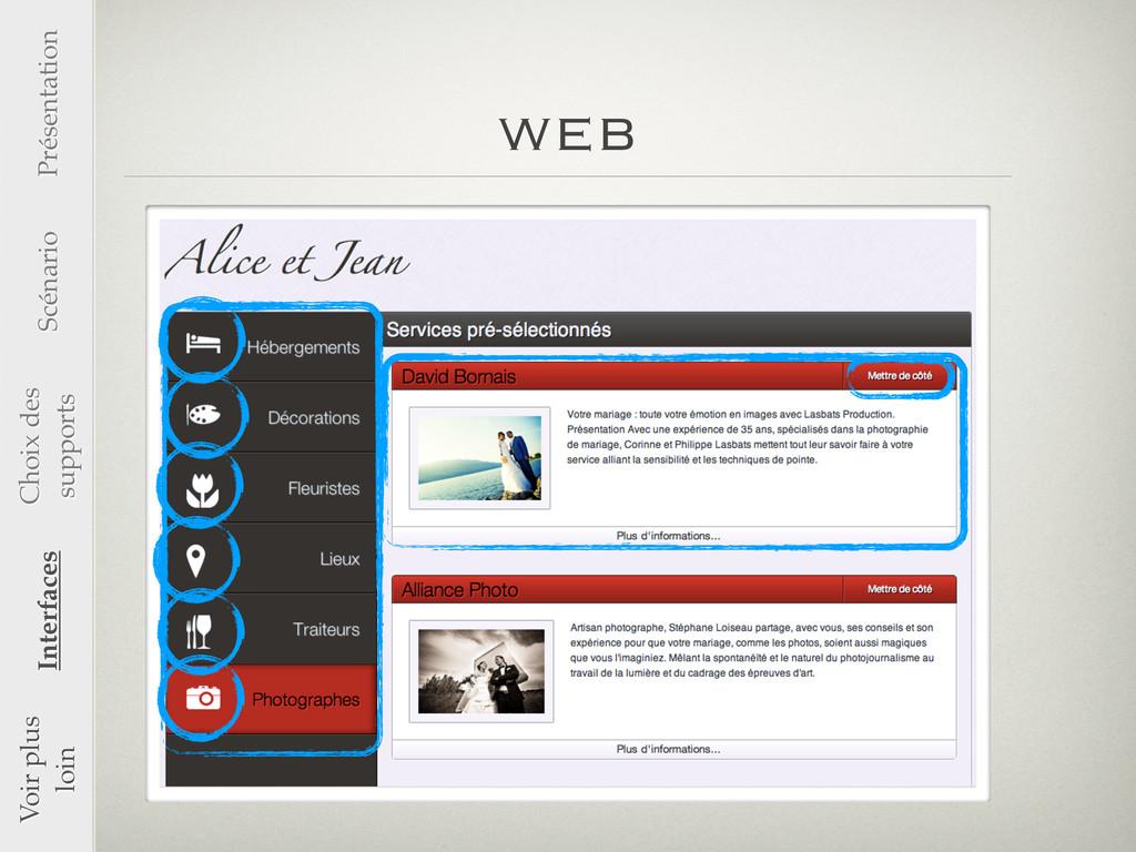 web Voir plus loin Interfaces Présentation Scén...