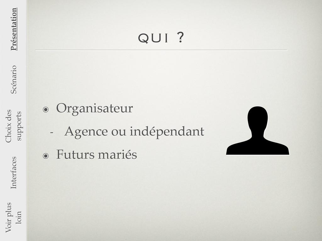 qui ? ๏ Organisateur - Agence ou indépendant ๏ ...