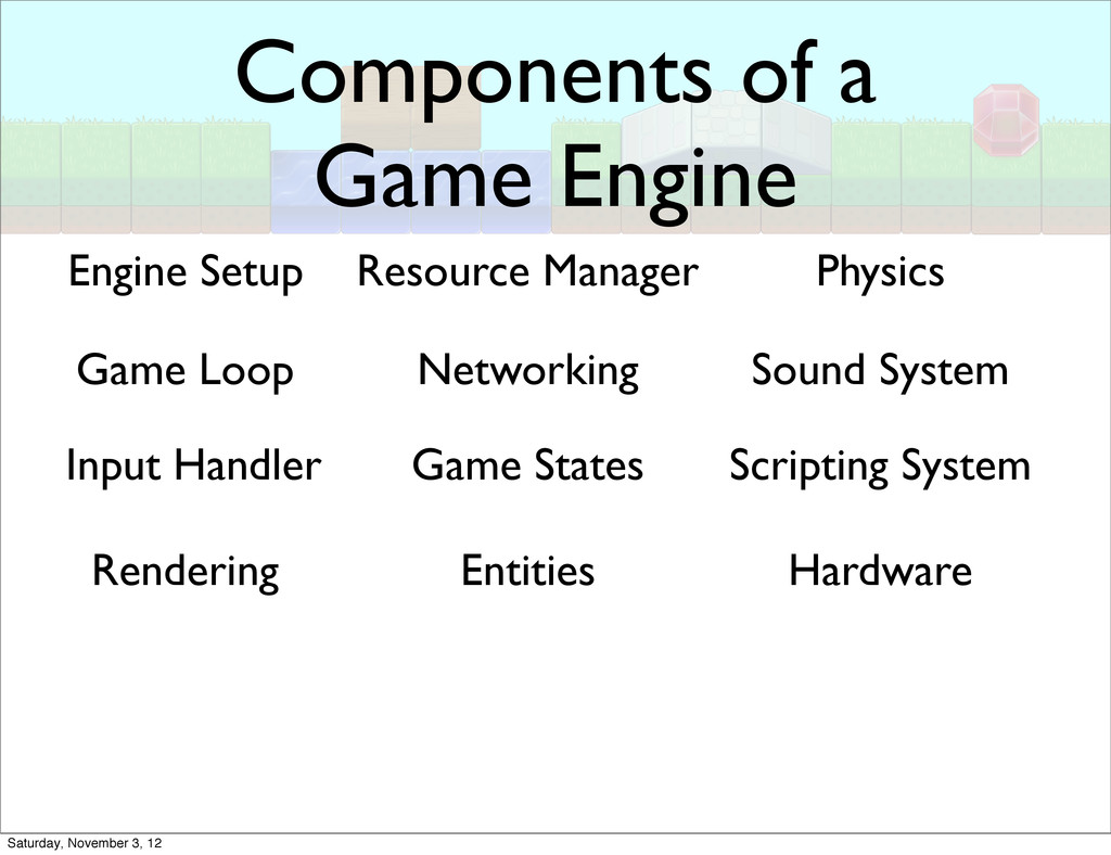 Components of a Game Engine Engine Setup Game L...