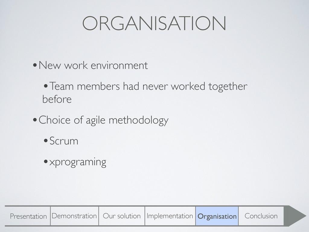 ORGANISATION •New work environment •Team member...