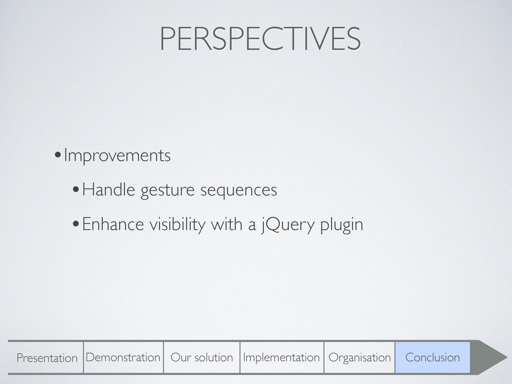 PERSPECTIVES •Improvements •Handle gesture sequ...