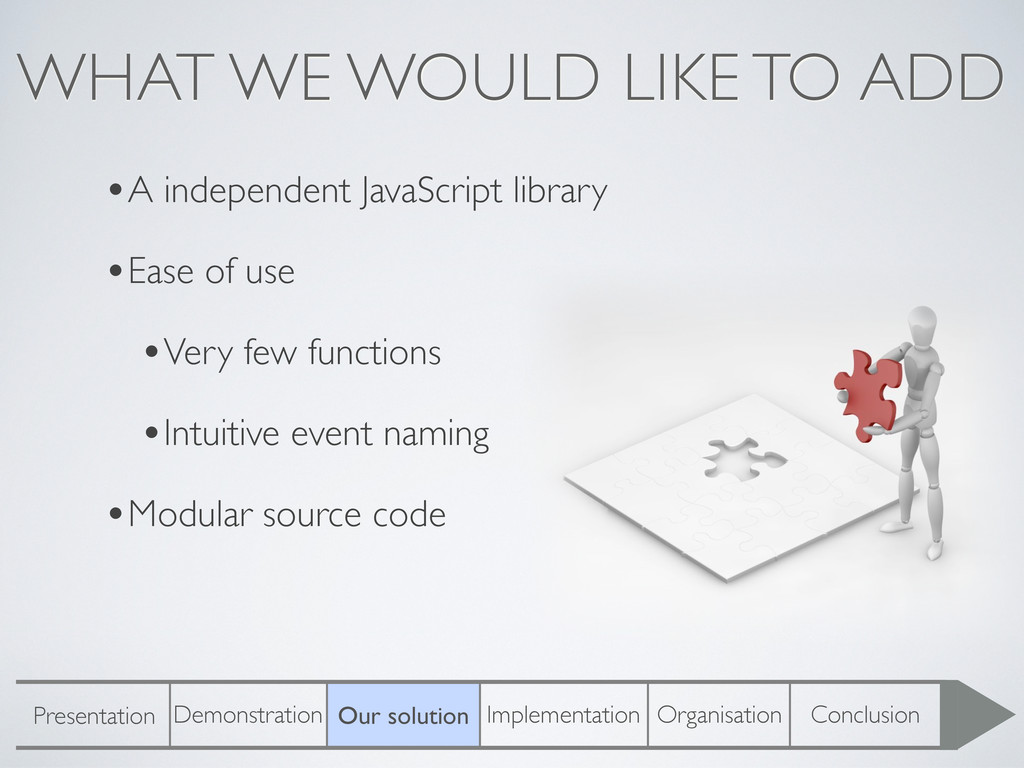 WHAT WE WOULD LIKE TO ADD •A independent JavaSc...