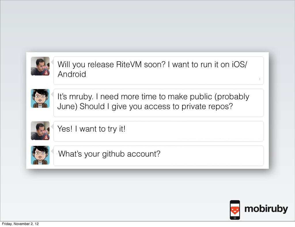 Will you release RiteVM soon? I want to run it ...