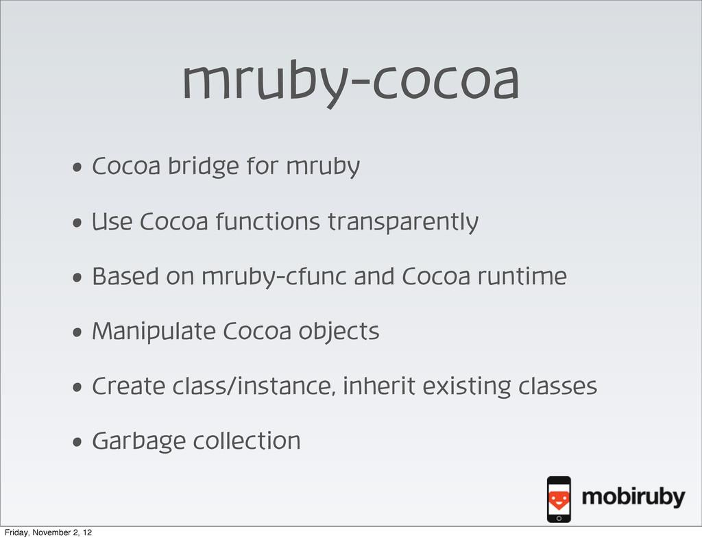 mruby-cocoa • Cocoa bridge for mruby • Use Coco...