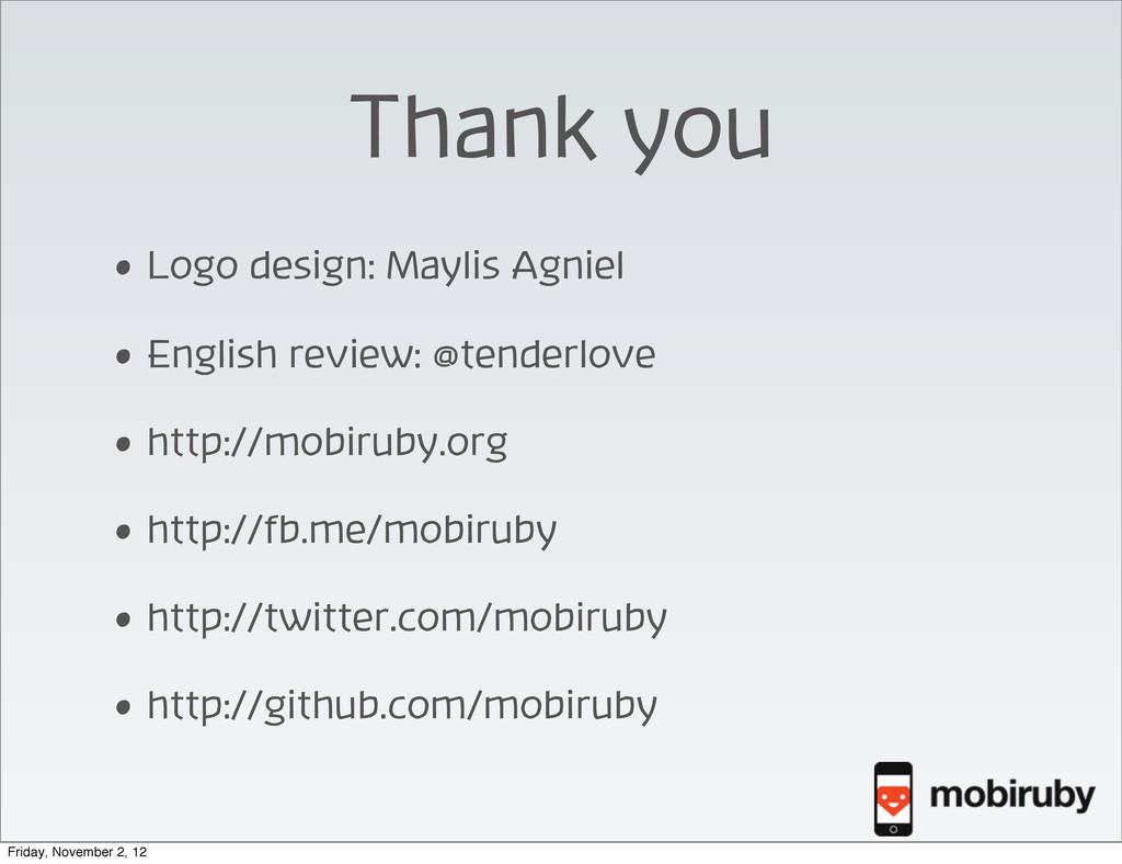 Thank you • Logo design: Maylis Agniel • Englis...