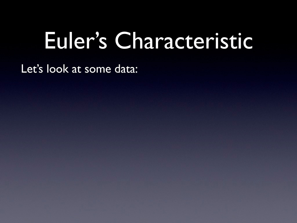 Euler's Characteristic Let's look at some data: