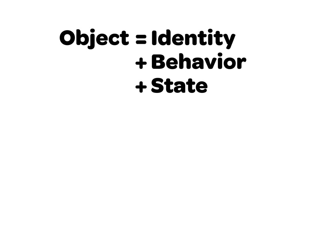 Object = Identity + Behavior + State