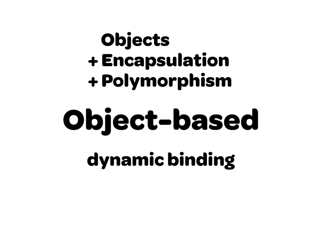 Object-based Objects + Encapsulation + Polymorp...
