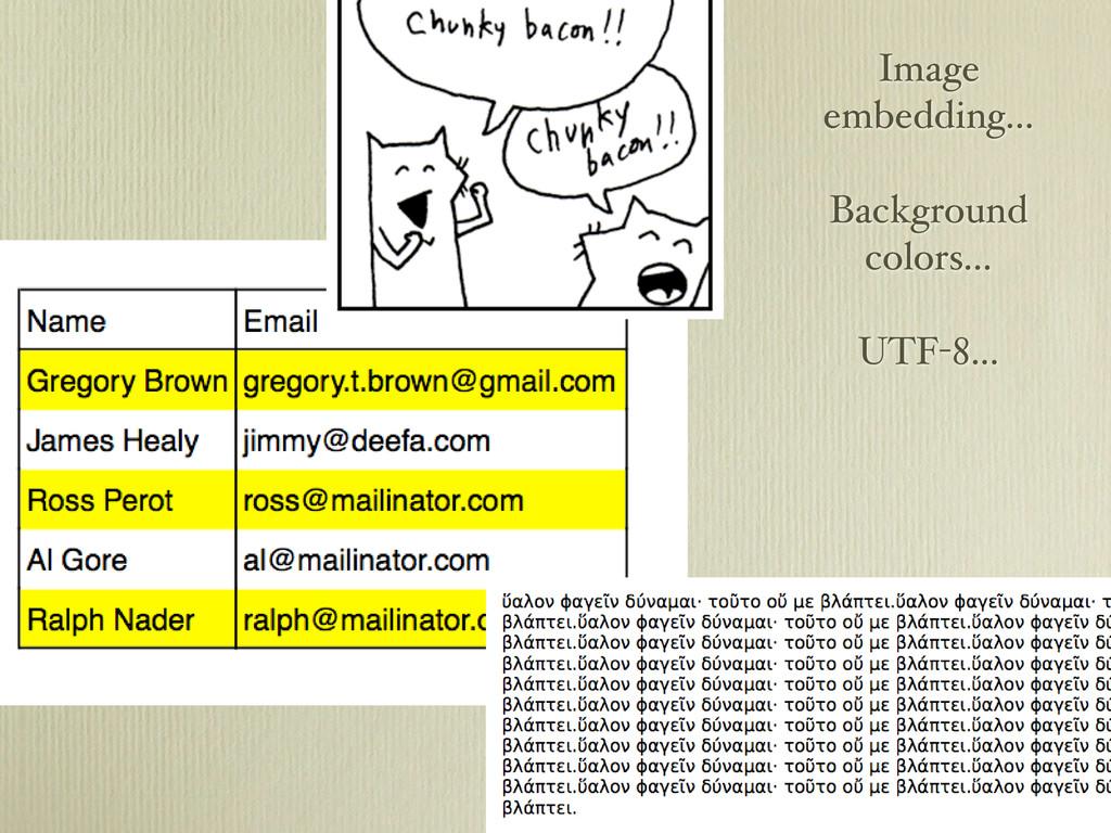 Image embedding... Background colors... UTF-8...