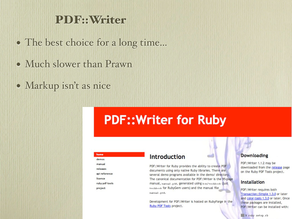PDF::Writer • The best choice for a long time.....
