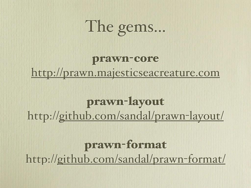 The gems... prawn-core http://prawn.majesticsea...
