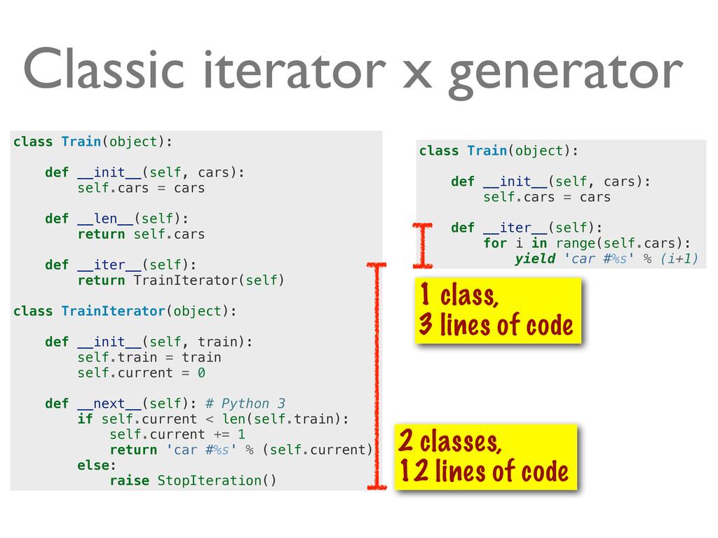 Classic iterator x generator class Train(object...