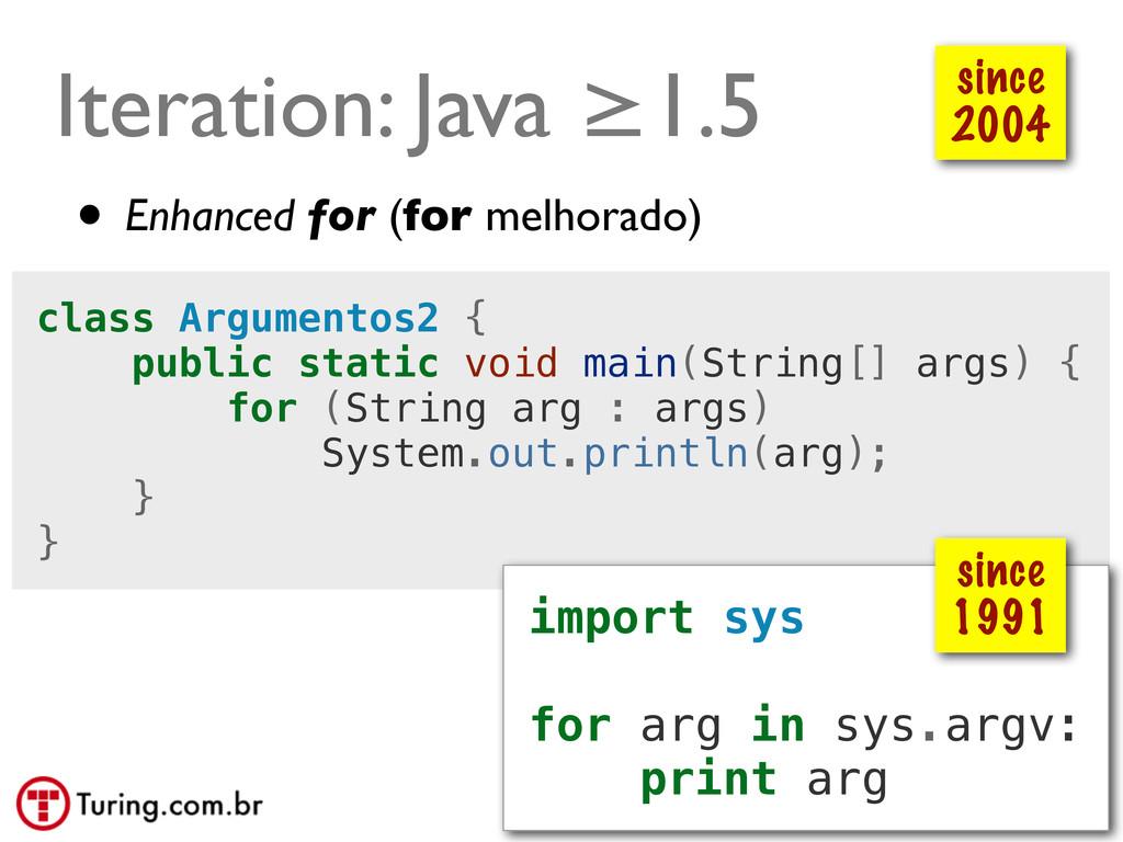 @ramalhoorg Iteration: Java ≥1.5 class Argument...