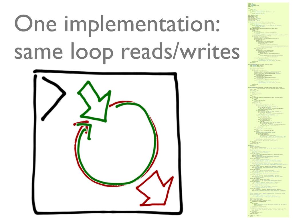 @ramalhoorg One implementation: same loop reads...